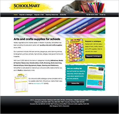 school supplies website design