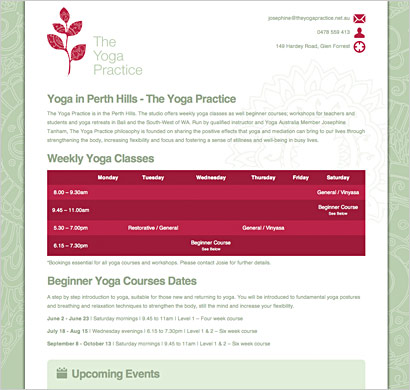 yoga website design